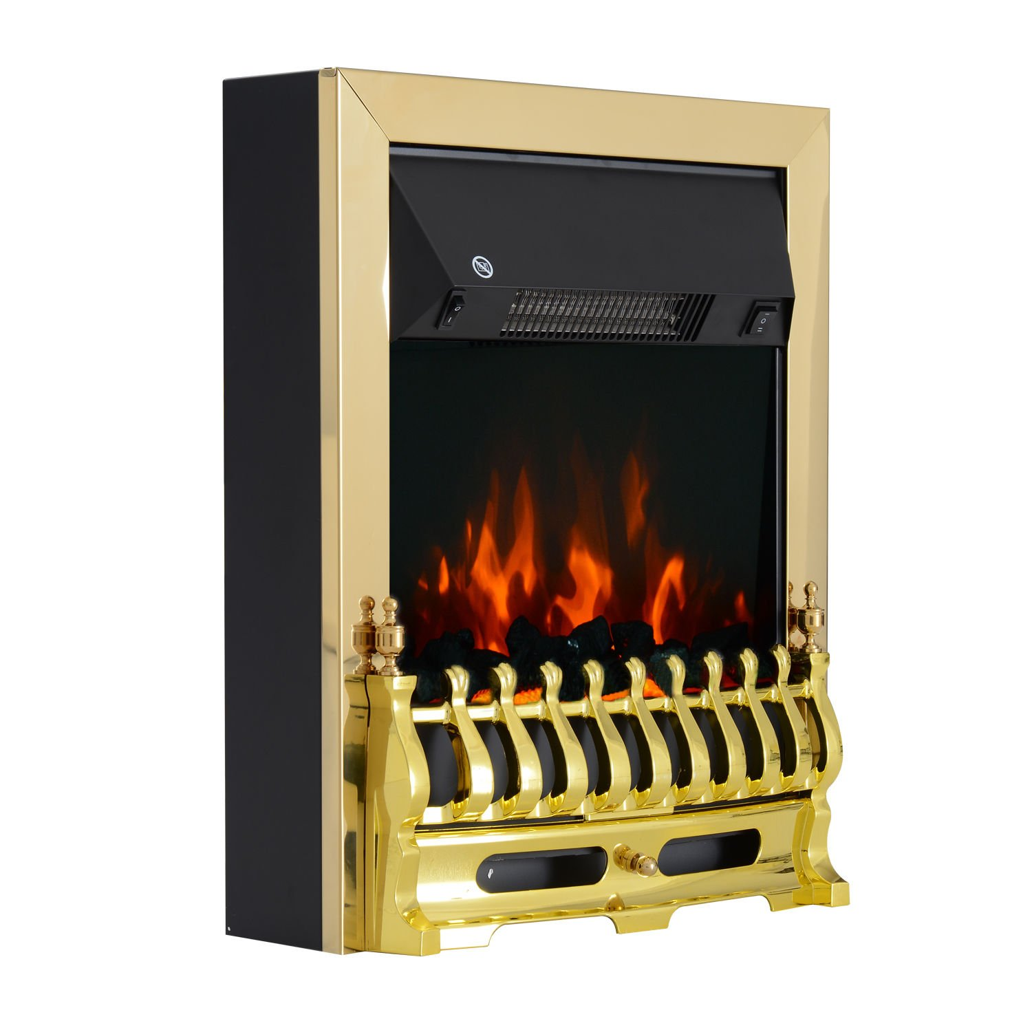 HOMCOM Electric Fireplace LED Light Complete Fire Place Heating Indoor Heater Coal Burning Flame Effect Heat 2000W Max Sold by MHSTAR