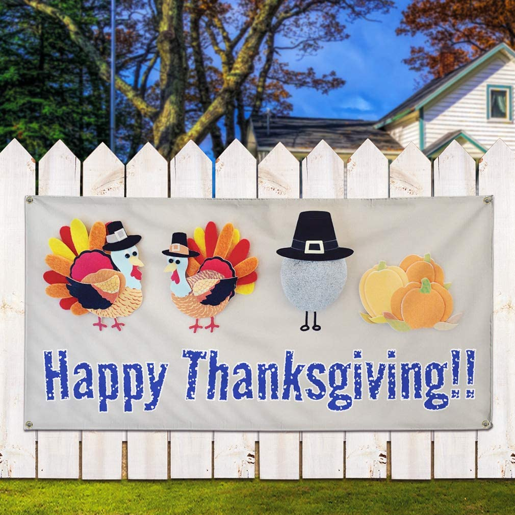 Multiple Sizes Available Set of 3 4 Grommets Vinyl Banner Sign Happy Thanks Giving #2 Lifestyle Marketing Advertising White//Grey 24inx60in