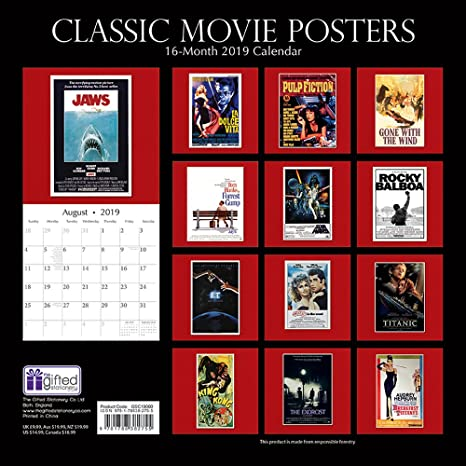 2019 Movie Calendar Amazon.: 2019 Wall Calendar   Classic Movie Posters Calendar