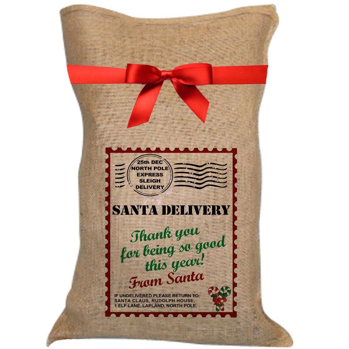 Amazon.de: Weihnachtsmann-Sack, Motiv: Weihnachtsmann bei Sackleinen ...