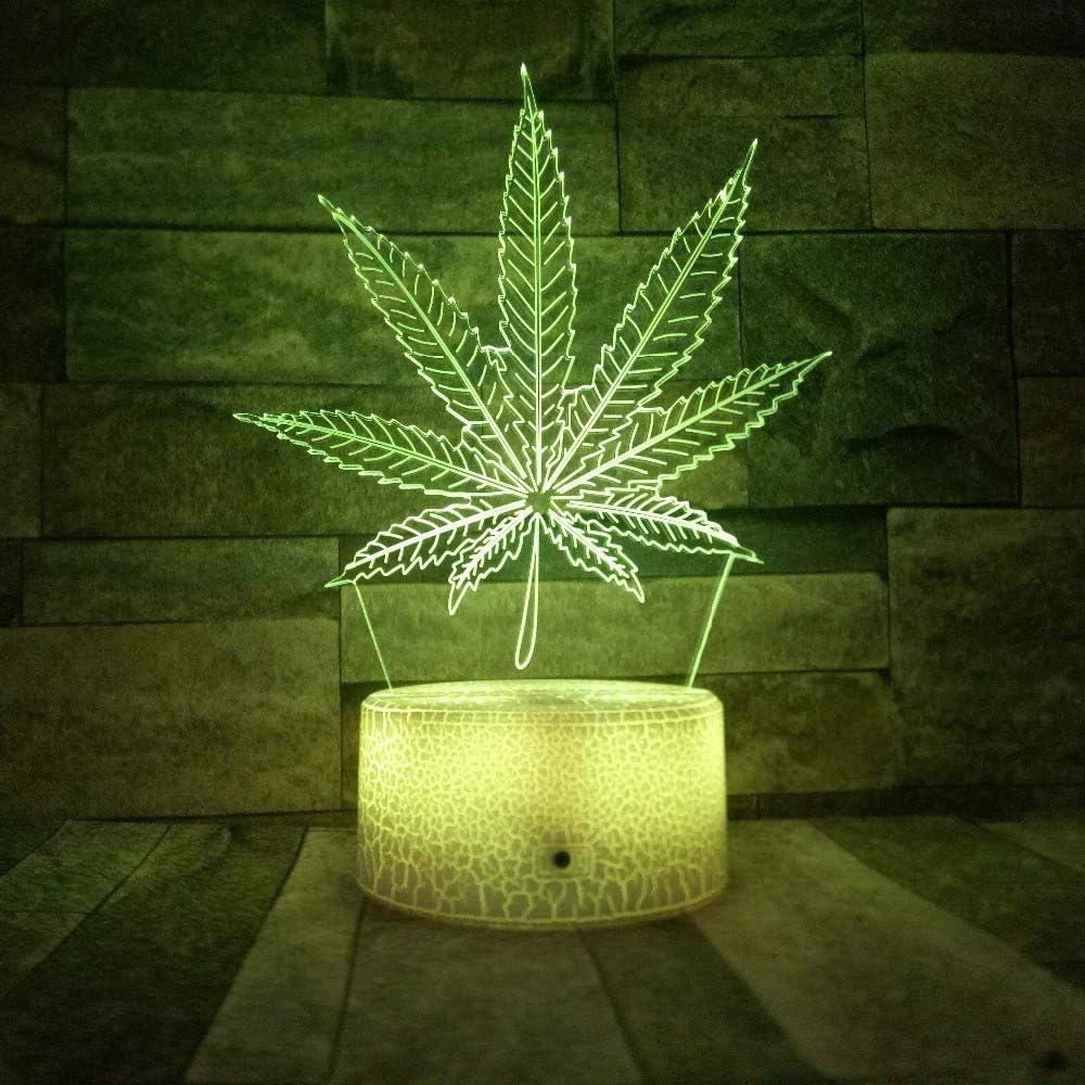 3D LED Crack Base Cannabis Leaf Night Light Luz de ilusión de hierba intercambiable Lámpara de escritorio de visión óptica Regalo de Navidad para niños