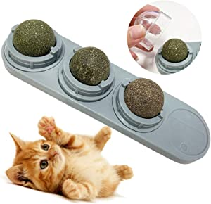 LMUGOOS Cat Nip,Rotatable Catnip Ball - 100% Natural Organic Catnip Plant,Edible Licked Catnip Toys for Cats/Kitty Chewing Cleaning Teeth