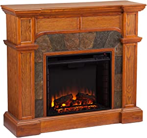 SEI Furniture Southern Enterprises Cartwright Convertible Electric Fireplace, Mission Oak Finish with Earth Tone Tiles