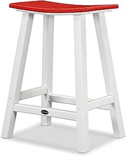 "product image for POLYWOOD 2011-FWHSR Contempo 24"" Saddle Bar Stool, White/Sunset Red"