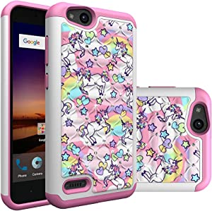 ZTE Tempo X/Blade Vantage/Avid 4 / Fanfare 3 Case, Rainbow Unicorn Pattern Heavy Duty Shockproof Studded Rhinestone Crystal Bling Hybrid Case Silicone Protective Armor for ZTE Tempo X N9137