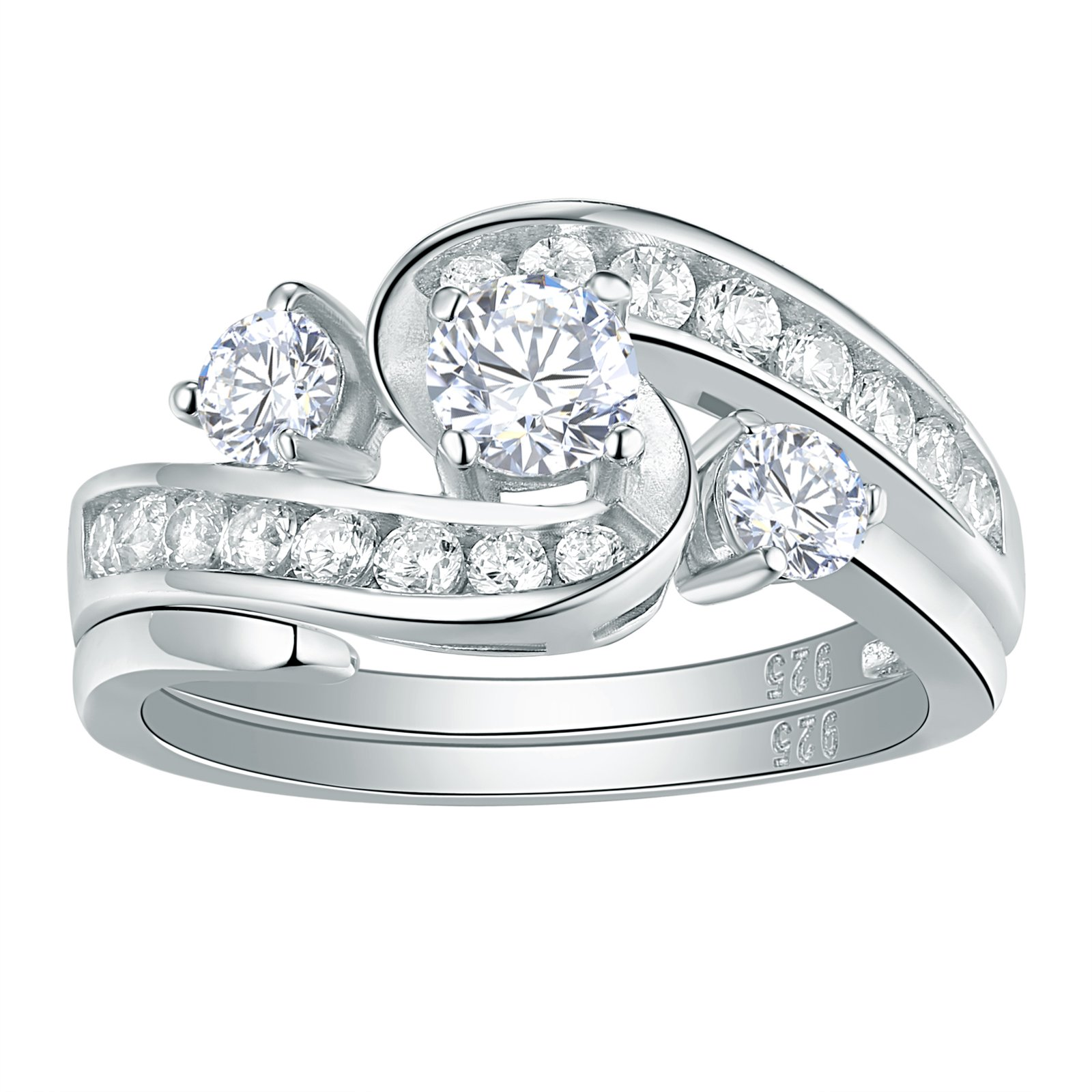 Newshe Sparkle 2ct AAA Cz 925 Sterling Silver Engagement Band Wedding Ring Set For Woman Size 7