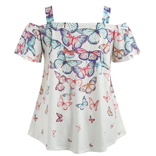 193ada423a6 NREALY Women s Cold Shoulder Plus Size Butterfly T-Shirt Tops Blouse Tee  Tops Tunic