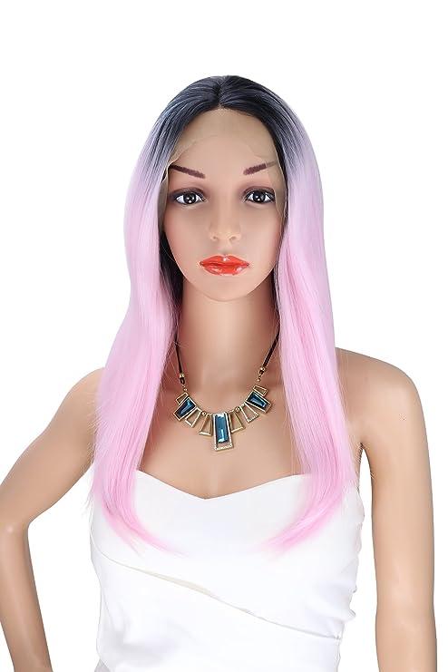 Peluca de pelo largo recto de Kalyss Ombre negro a rosa Peluca sintética a prueba de