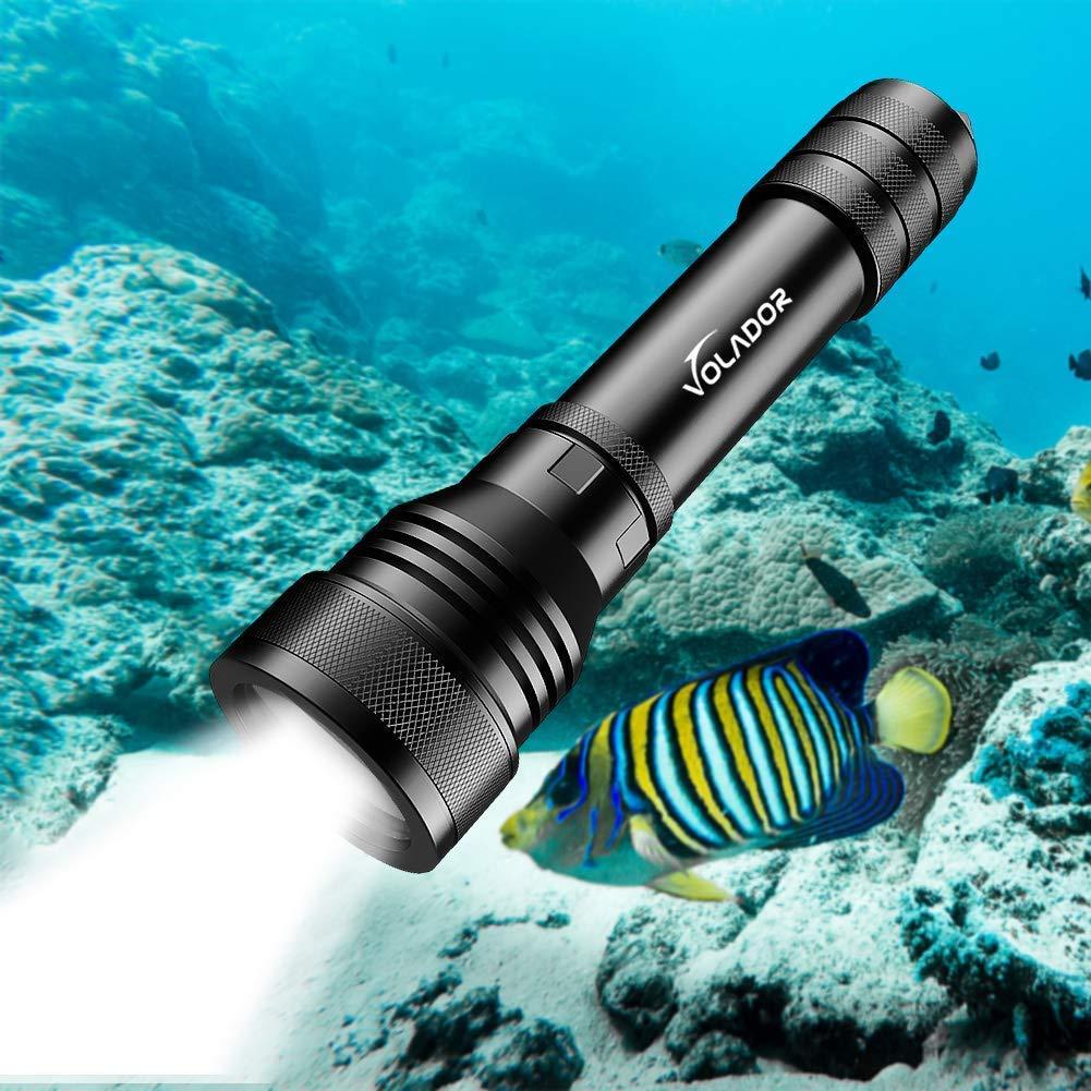 150 Metros Luces Sumergibles con 1x 18650 Bater/ía y Cargador Recargable Linterna de Submarinismo Volador Buceo Linterna 2000 Lumens LED Antorcha de Buceo