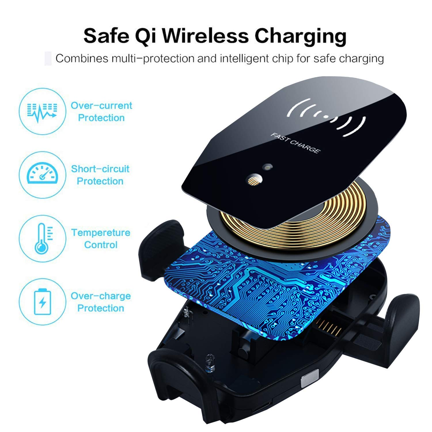 Wireless Car Charger VIKASI 10W Qi Fast Charging Car Phone Holder Black-Red Air Vent Automatic Clamping Car Charger Mount Compatible with Samsung Galaxy Note 9//8// S9// S8,iPhone Xs Max//XR//X 8//8 Plus