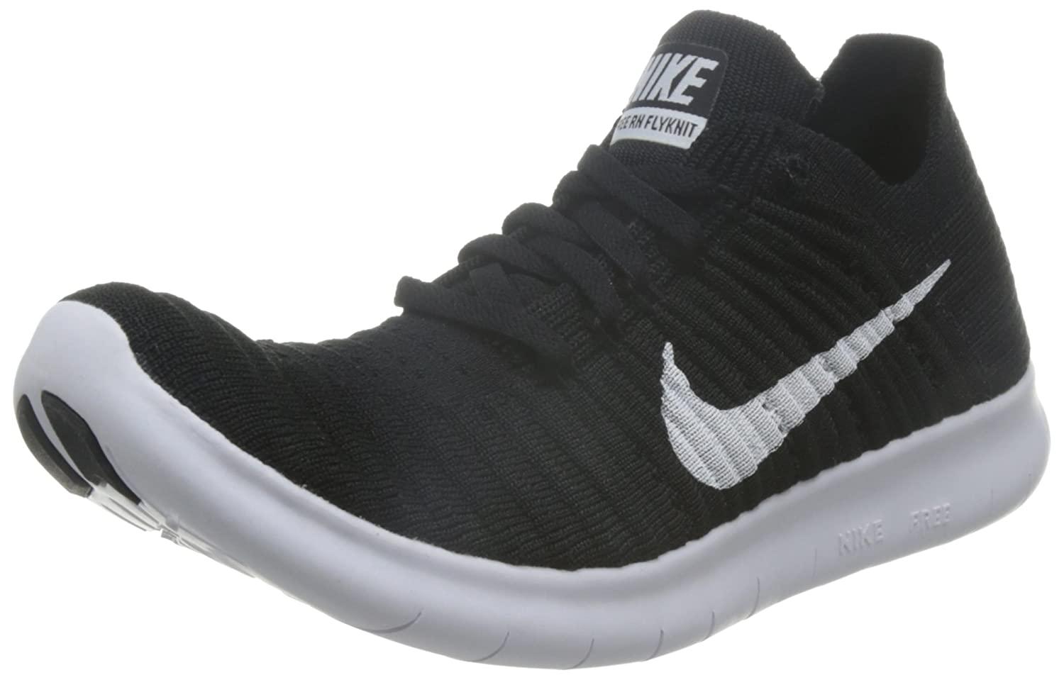 look for d696c c8aec Amazon.com  Nike Free RN Flyknit Womens Black White Running Sneakers   Clothing