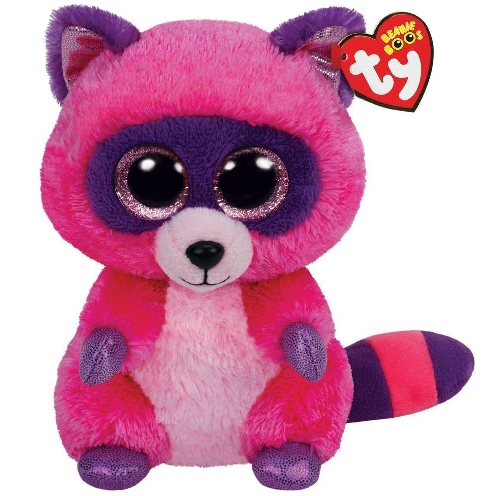 amazon com ty beanie boos roxie the pink purple raccoon plush