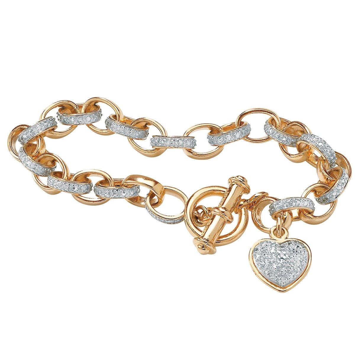 White Diamond Accent 18k Gold over .925 Silver Heart Charm Rolo-Link Bracelet 7.25''