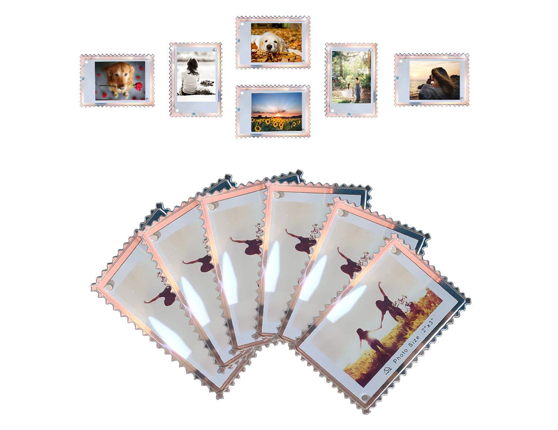 WINKINE Acrylic Fridge Magnetic Frame 2x3, 12 Pack Iridescent Double Sided Magnet Picture Photo Frame for Fujifilm Instax Mini 9 8 8+ 70 7s 90 25 26 50s Film, Polaroid Z2300, Polaroid PIC-300P Film