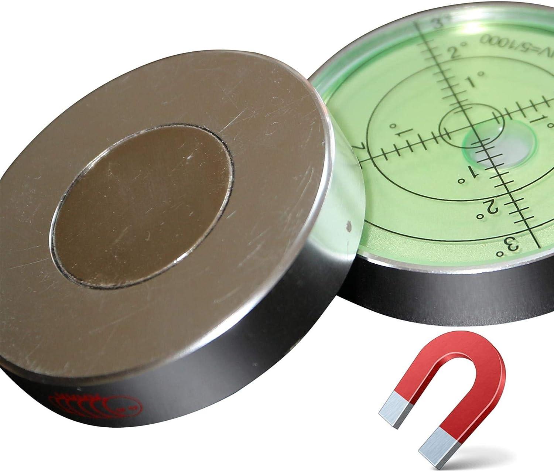 ojo de toro circular 60mm Di/ámetro Verde//Plata grados recubrimiento de metal nivel de superficie Nivel de burbuja grande de metal Magn/ético redondo