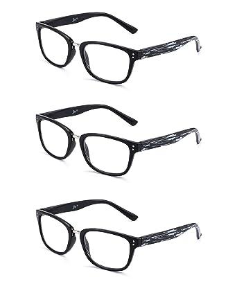acbec914c89 JM Reading Glasses Set of 3 Quality Spring Hinge Readers Men Women Glasses  for Reading +