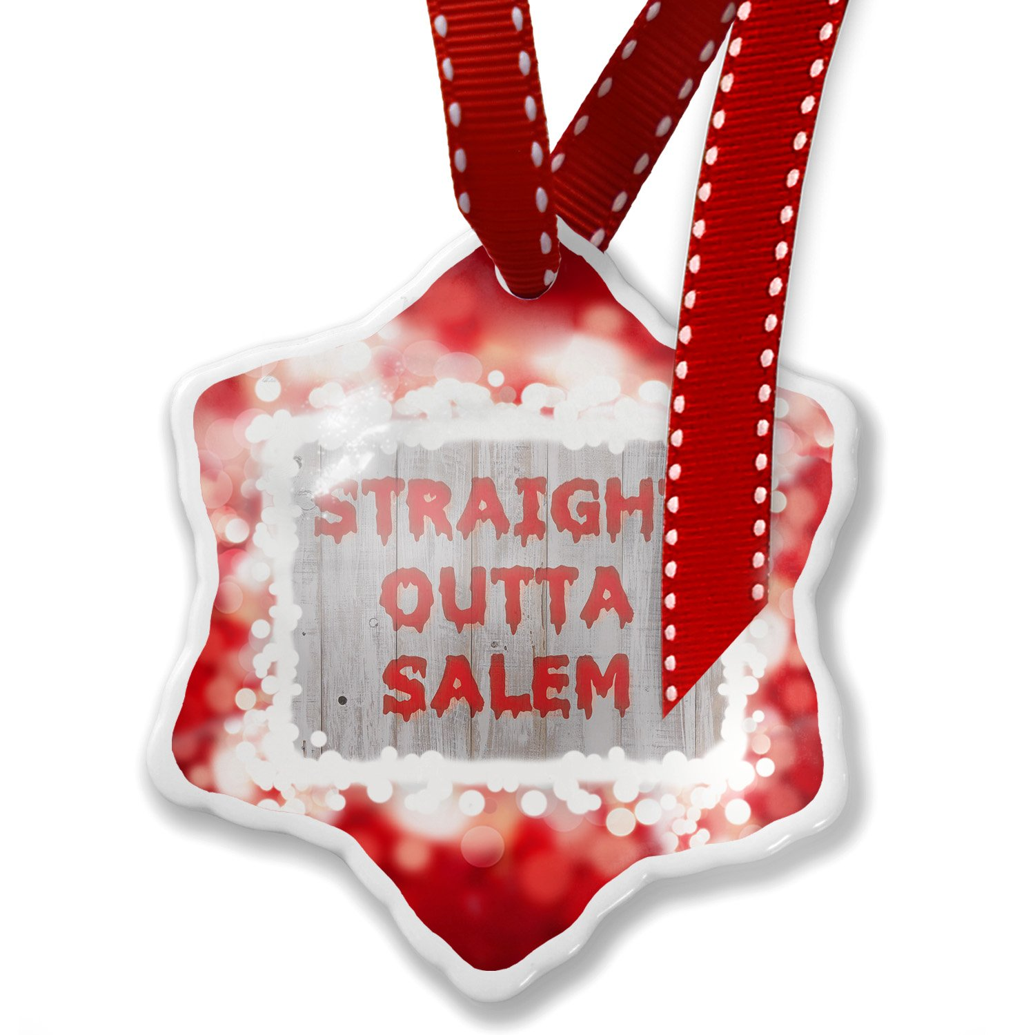 Christmas Ornament Straight Outta Salem Halloween Bloody Wall, red - Neonblond
