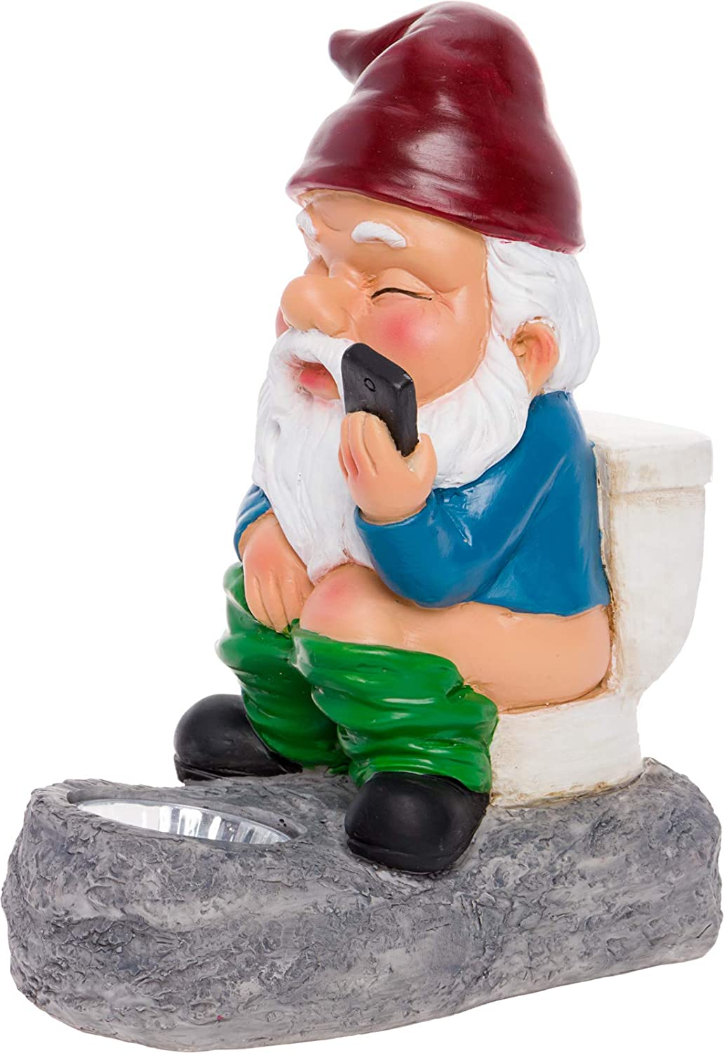 GreenLighting Solar Powered Gnome on a Toilet - Novelty Light Up Garden Statue