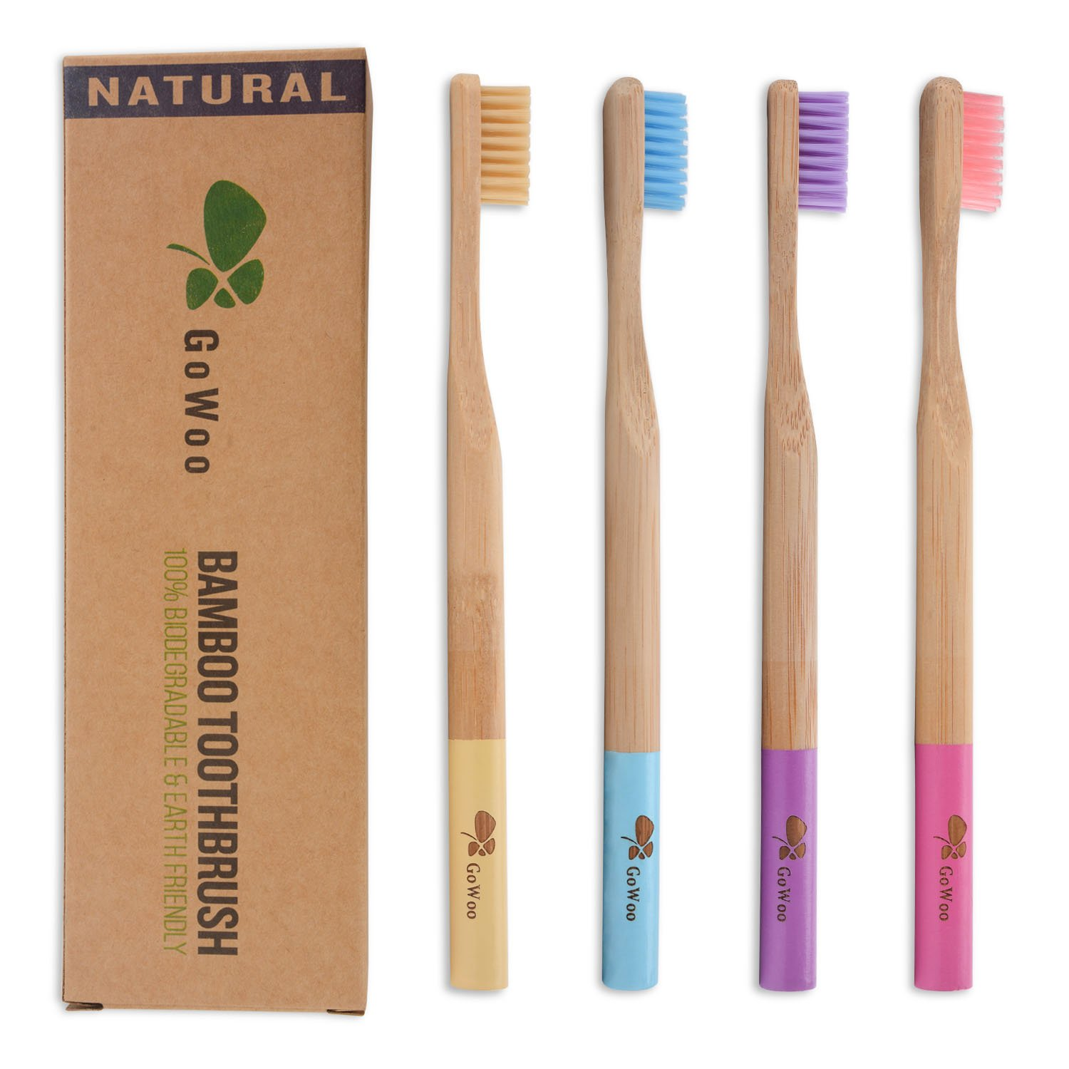GoWoo 100% Natural Bamboo Toothbrush Soft – Organic Eco Friendly Toothbrushes With Soft Nylon Bristles, BPA-Free, Biodegradable, Dental Care Set for Men and Women, Pack Of 4, Rainbow Color