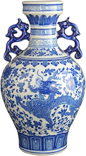 Festcool Classic Blue and White Dragon Porcelain Vase, Jingdezhen, China