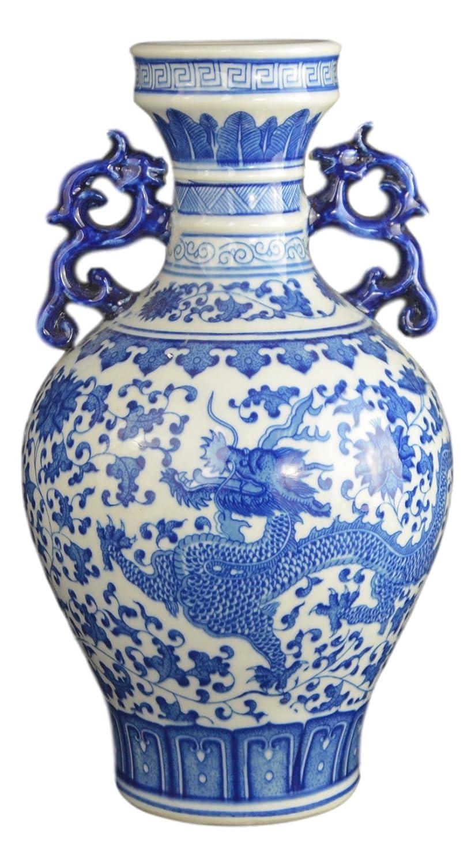 Classic Blue and White Dragon Porcelain Vase, Jingdezhen, China