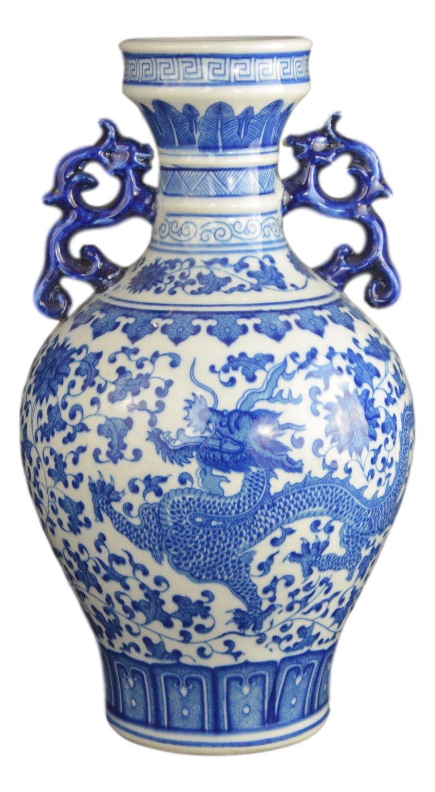 Classic Blue and White Dragon Porcelain Vase, Jingdezhen, China