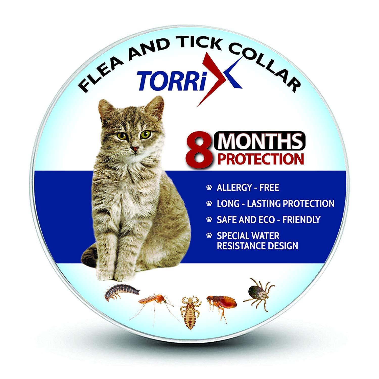 TORRIX Cats Flea and Tick Collar - 8-Month Flea Prevention Cat Collar - Adjustable and Waterproof Cat Flea and Tick Control