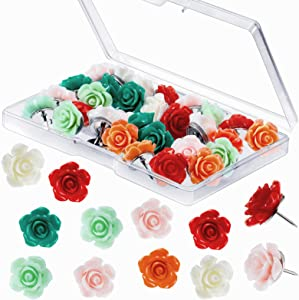 30 Pieces Rose Pushpins Thumbtacks, Cork Board Tacks, Decorative Push Pins Flower Thumb Tacks for Whiteboard, Bulletin Board, Photo Wall, Map, Office Home Organization, Assorted Color