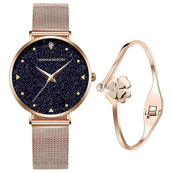 362c2ee723f6 Relojes de Cuarzo analógicos para mujer niña de Agua 3ATM con Correa de  Malla de Acero Inoxidable en Oro Rosa, Reloj de Pulsera con Elegante Esfera  ...