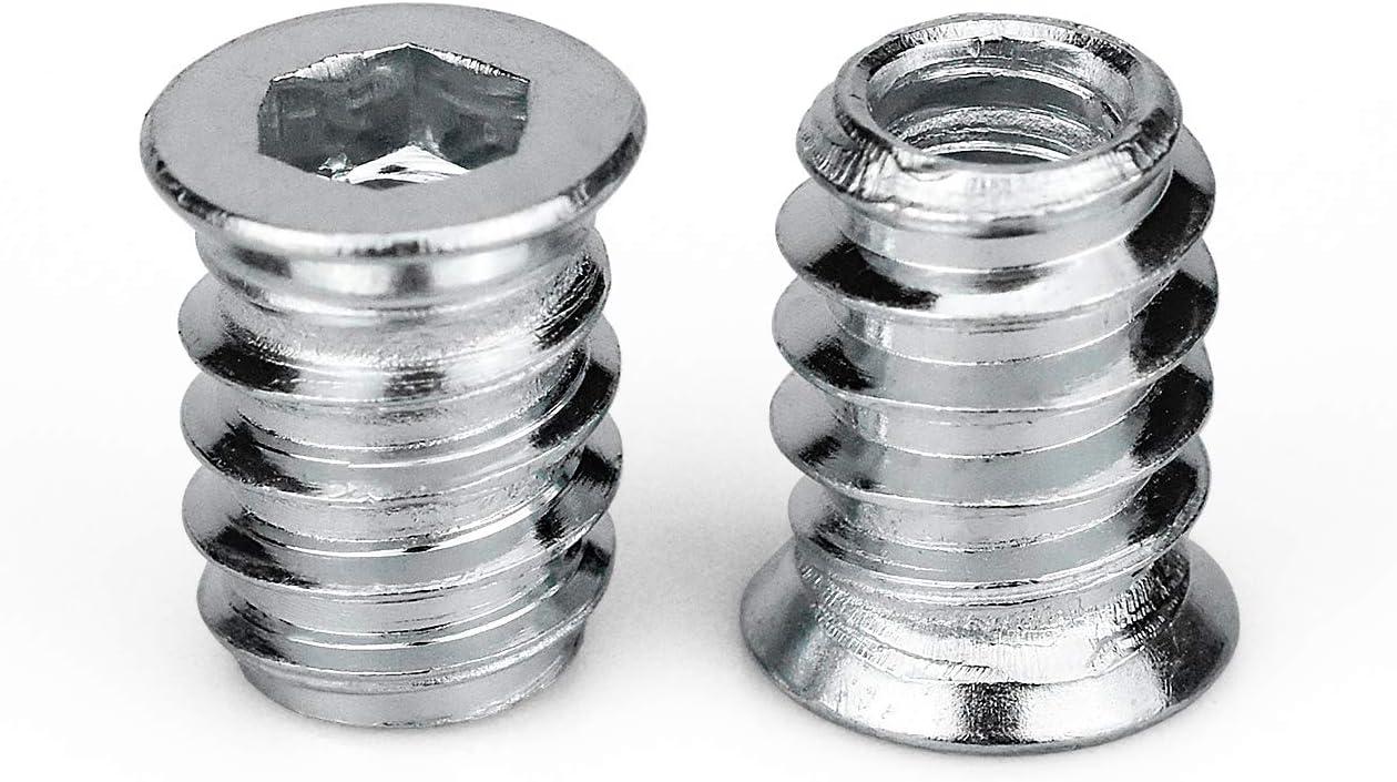 100 Stk M6 Einschraubmuffen 15 mm Einschraubmutter Eindrehmuffe mit Abdeckrand Gewindeeinsatz Muttern Hex Innensechskantmuttern aus verzinktem Stahl