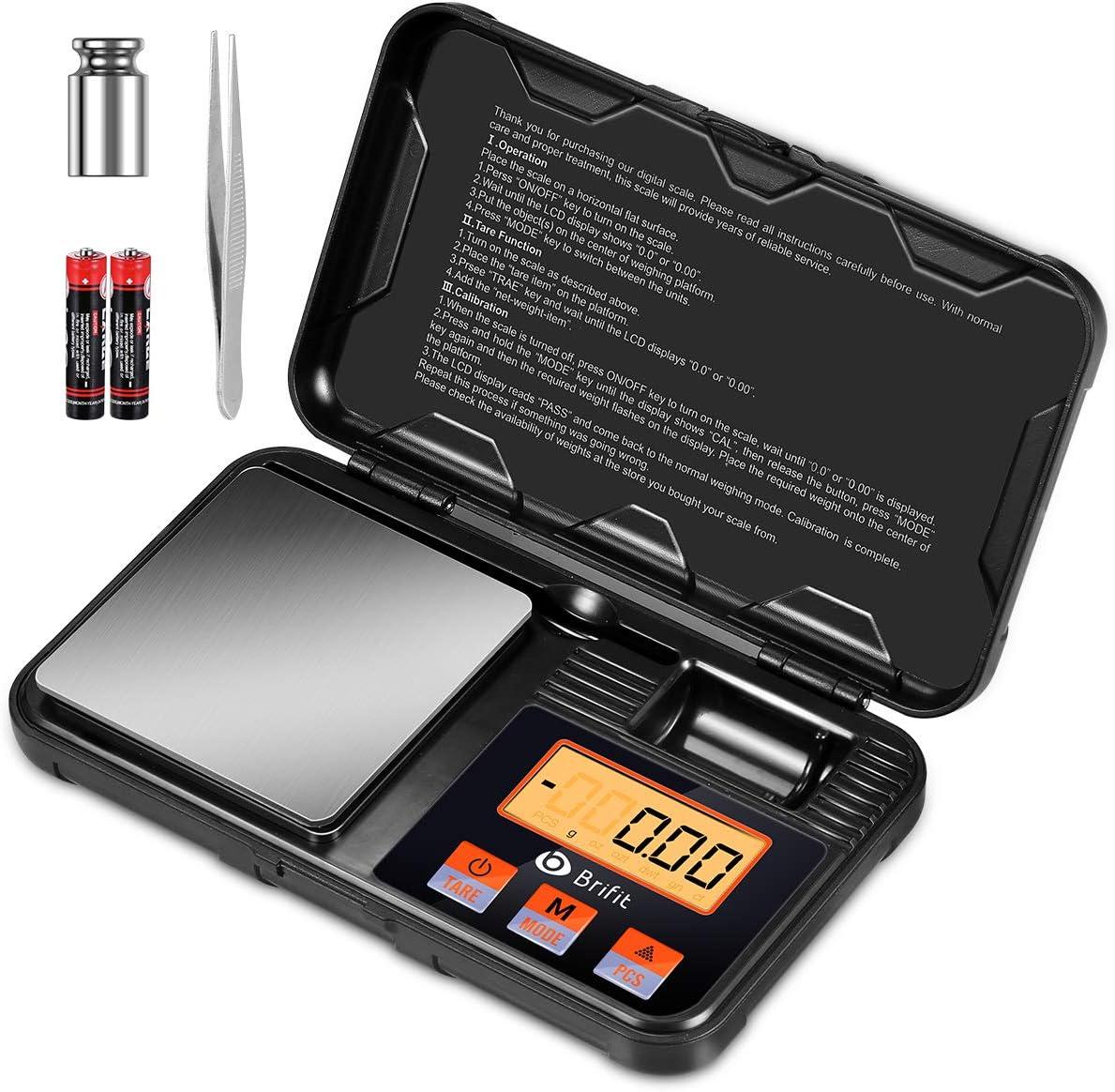 Criacr Báscula de Precisión Digitale, 200g/0.01g Balanzas de Portátiles con Pesas de Calibración de 50g, LCD Retroiluminado, PCS, Función de Tara (Baterías, Pinzas Incluidas)