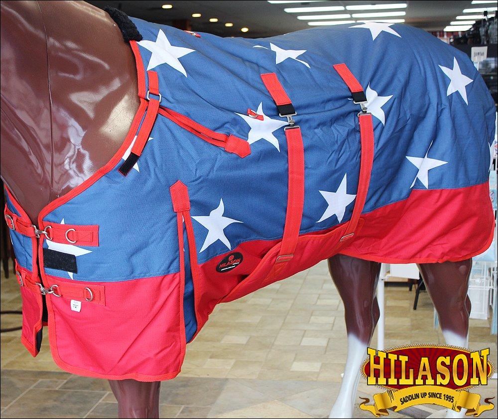 HILASON 72'' 1200D Waterproof Winter Turnout Horse Blanket Belly WRAP US Flag