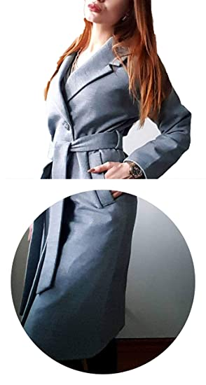 Fall Winter Cashmere Look Robe Belted Coat Woolen Outerwear Manteau Femme Abrigos Mujer,Gray,