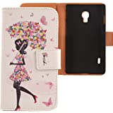 Lankashi PU Flip Leder Tasche Hülle Case Cover Schutz Handy Etui Skin Für LG Optimus L7 II 2 P710 Umbrella Girl Design