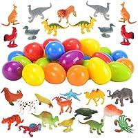 JOYIN 48 Pieces Easter Eggs Prefilled with Assorted Natural World Animal Figures Easter Basket Stuffer for Kids Easter Egg Stuffers Fillers