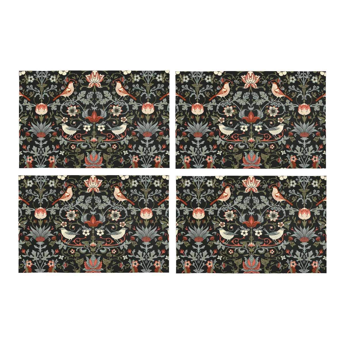 InterestPrint 美しいハチドリ 赤の花 洗濯可能 ポリエステル生地 プレースマット プレートマットホルダー 4枚セット 耐熱性 テーブルマット プロテクター 12 x 18インチ Set of 4 YIBN-PD0105-S4-08 Set of 4 デザイン#8 B07J55MR9R