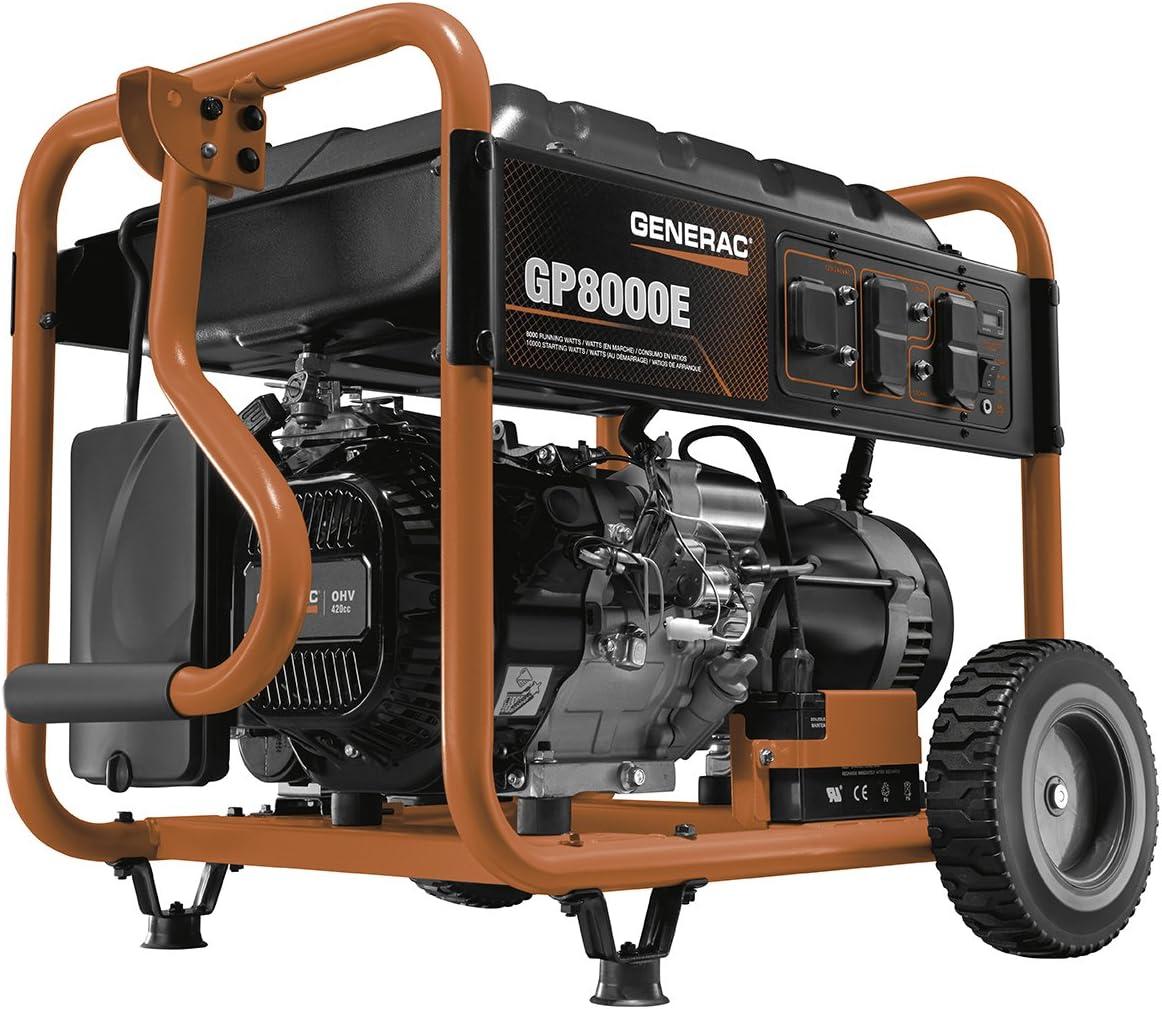 Generac 6954 GP8000E 8,000 Running Watts/10,000 Starting Watts Electric Start Gas Powered Portable Generator - CSA Compliant