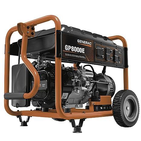 Generac 10000 Watt Generator >> Generac 6954 Gp8000e 8 000 Running Watts 10 000 Starting Watts Electric Start Gas Powered Portable Generator Csa Compliant