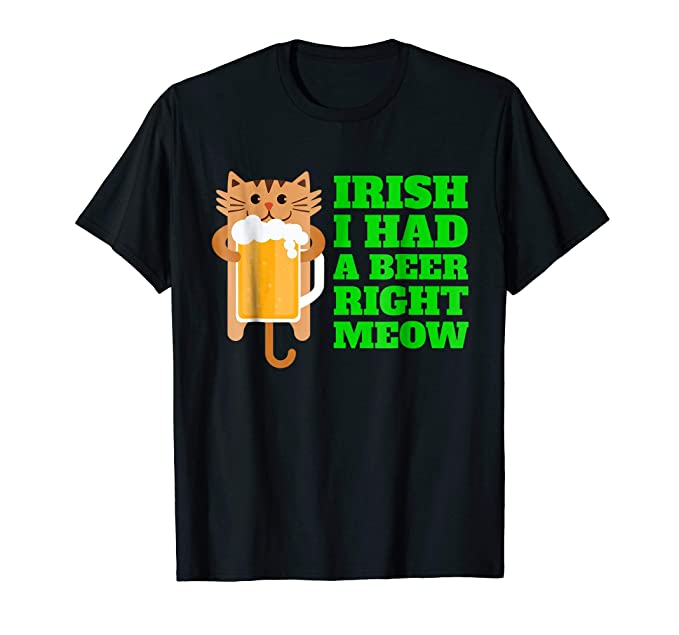 Women s Irish I had a Beer Right Meow Irish St. Pats Cat Shirt Large Brown   Amazon.ca  Clothing   Accessories e6c2d1c153