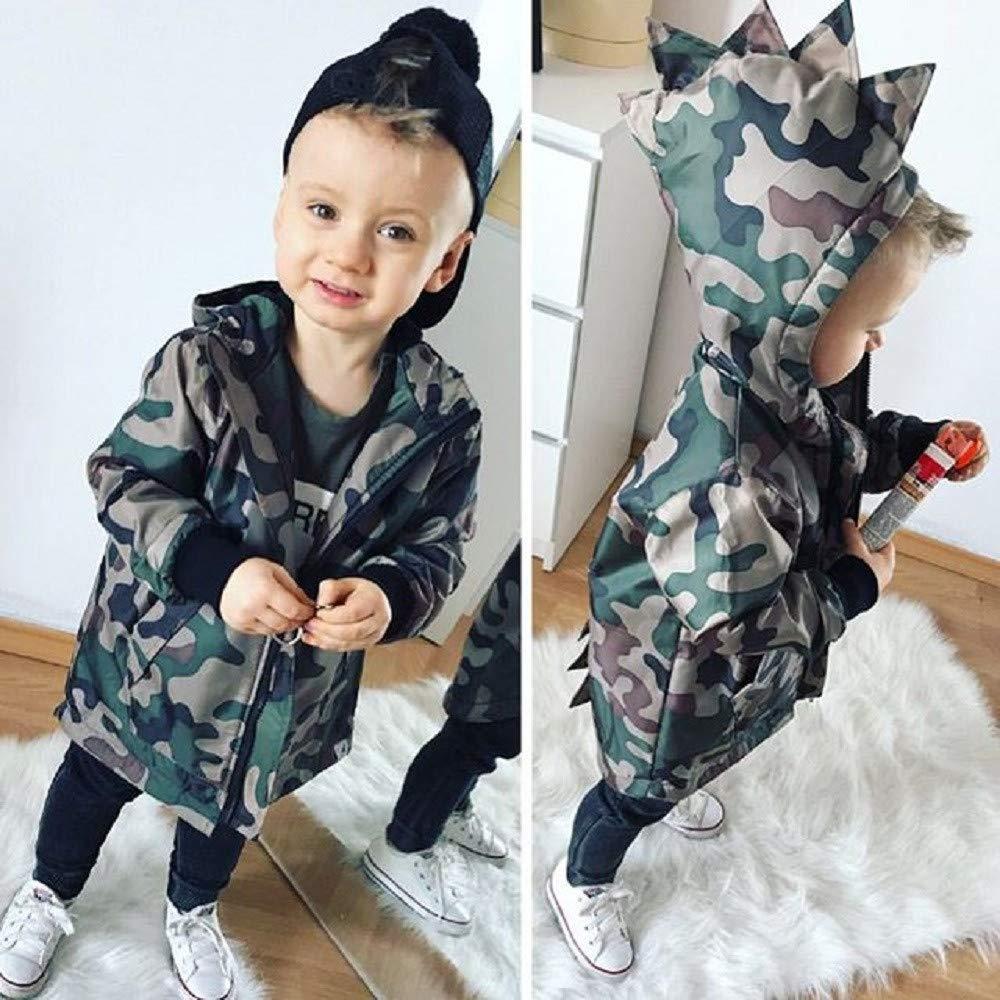 Staron  Newborn Baby Boys Dinosaur Hoodies Camouflage Hooded Jacket Coat Outfits