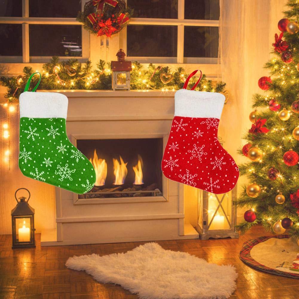 colore verde e rosso decorazioni per albero di Natale per tutta la famiglia 17 * 12 * 8cm Rosso. 12 mini calze natalizie a forma di calzini di Natale ideali per riporre regali
