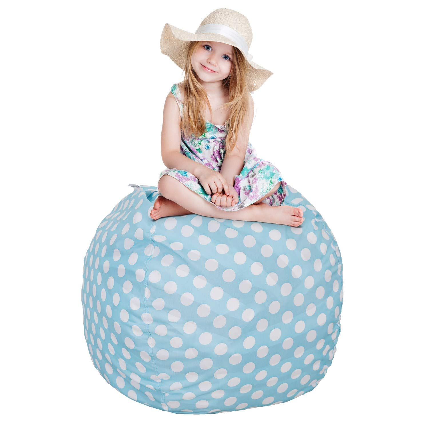 CALA EXTRA LARGE 38'' Cotton Canvas Stuffed Animals Bean Bag Chair For Kids- Pouf Plush Toys, Blankets, Towels & Clothes For Storage(Blue Polka Dot)
