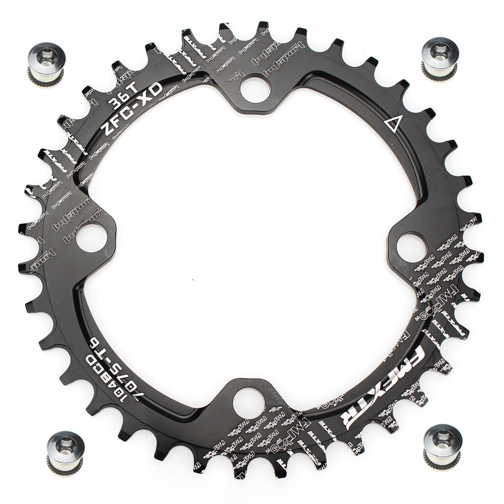 FOMTOR 36T Chainring Narrow Wide Chainring with Four Chainring Bolts for Road Bike, Mountain Bike, BMX MTB Bike (Black) by FOMTOR