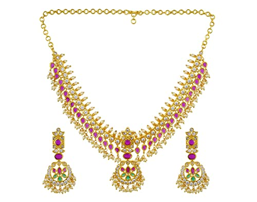 705340f63f040 Buy SL PEARLS Gutta Pusalla in Multicolour Necklace Set for Women ...