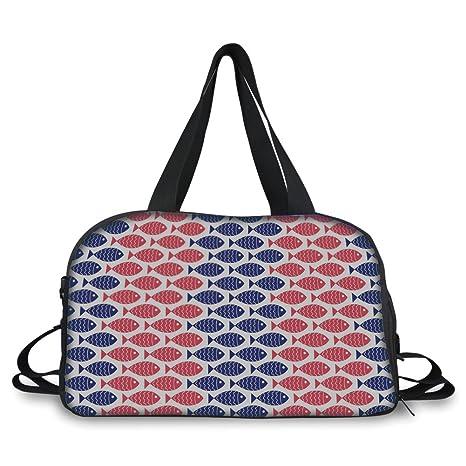 4c6484dc3318a6 Amazon.com: Travelling Bag,Fish Decor,Nautical Theme Design ...