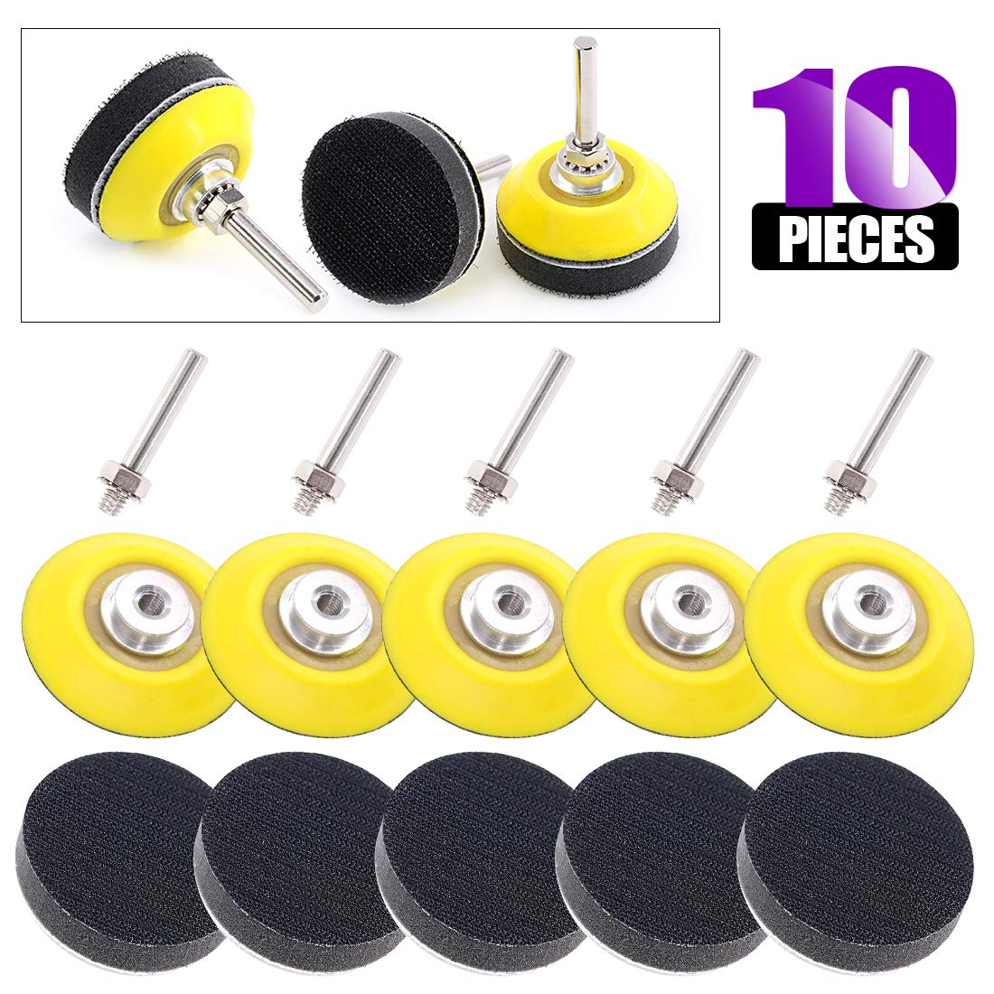Swpeet 10Pcs 2 Inch (50mm) Sanding Discs Pad Kit, Including 5Pcs 1/4'' Shank Drill Attachment Backing Pads and 5Pcs Soft Foam Layer Buffering Pad for Hook and Loop Sanding Pad Drill Grinder by Swpeet