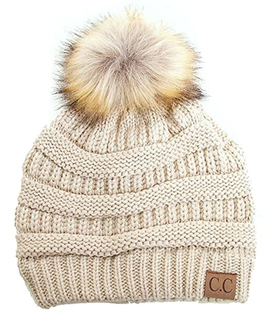 53892aa9b35 Plum Feathers Soft Stretch Cable Knit Ribbed Faux Fur Pom Pom Beanie Hat  (Beige)