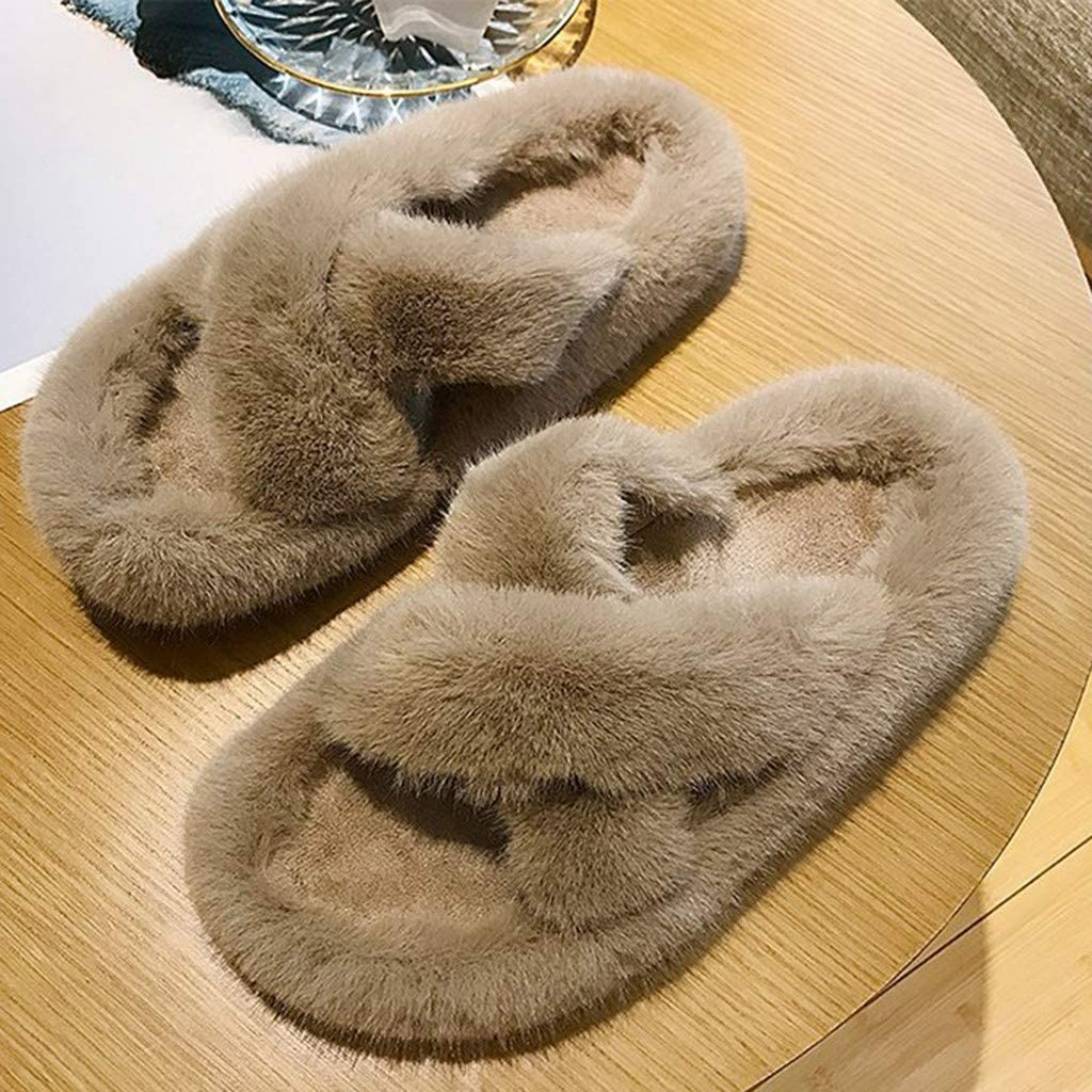 perfectCOCO Womens House Slippers Soft Plush Non Slip Flat Shoes Cross Band Open Toe Slippers Cozy Indoor Outdoor Slippers