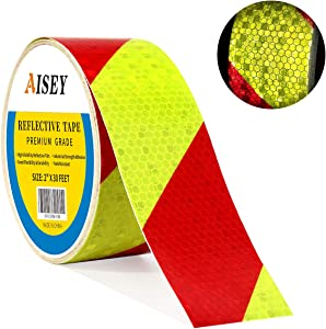 """Reflective Caution Tape Conspicuity Waterproof Yellow/Red Safety Strips Tape Outdoor, Reflector Hazard Tape Stickers, Trailer Reflectors 2"""" X 30ft"""