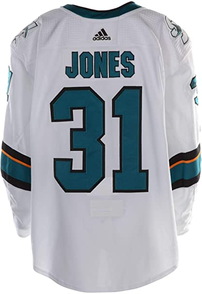 on sale ef8b0 f7658 Martin Jones San Jose Sharks Game-Used #31 White Jersey with ...